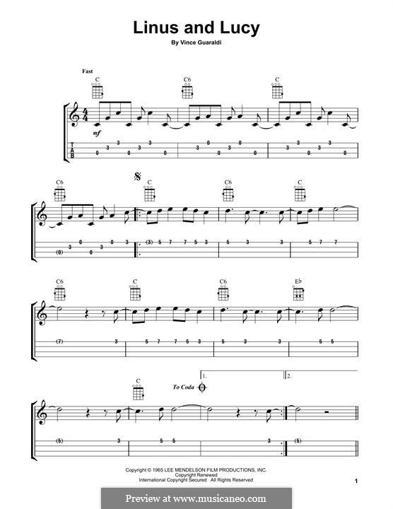 Linus and Lucy (from A Boy Named Charlie Brown): para ukulele by Vince Guaraldi