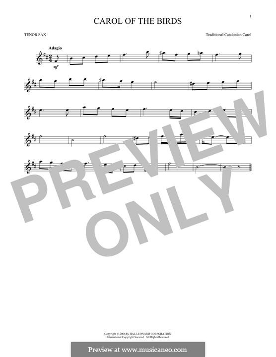 Carol of the Birds: para saxofone tenor by folklore