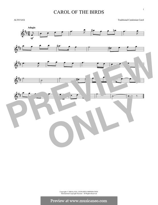 Carol of the Birds: para Saxofone Alto by folklore