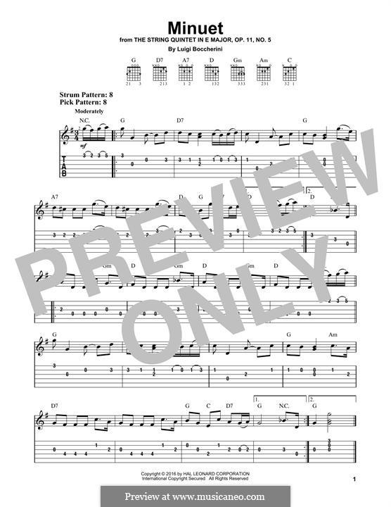 String Quintet No.5 in E Major, G.275 Op.107: Minuet, for guitar by Luigi Boccherini