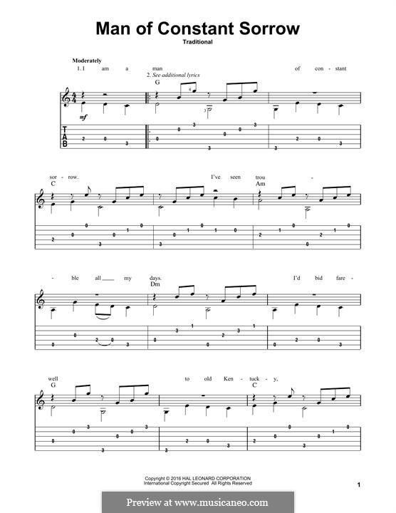 Man of Constant Sorrow: Para Guitarra by folklore