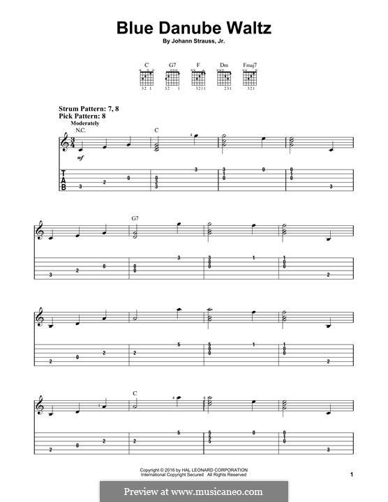 On the Beautiful Blue Danube, Op.314: Para Guitarra by Johann Strauss (Sohn)