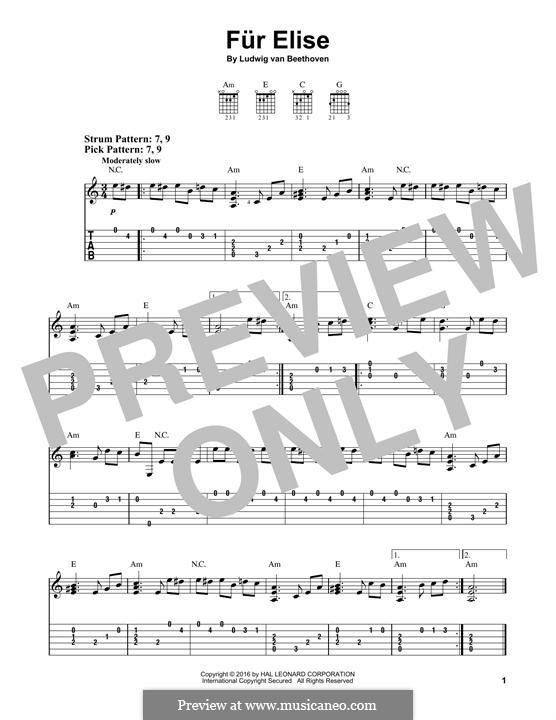 For Elise (Printable Scores): Para Guitarra by Ludwig van Beethoven
