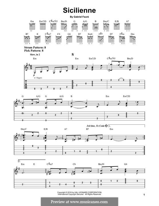 Sicilienne for Cello and Piano, Op.78: versão para guitarra by Gabriel Fauré