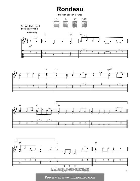 Rondo (Rondeau): Para Guitarra by Jean-Joseph Mouret