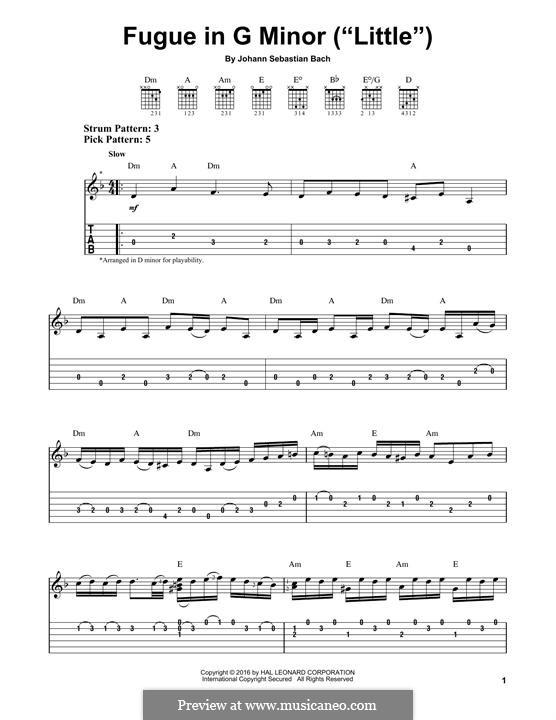 Fugue in G Minor 'Little', BWV 578: Para Guitarra by Johann Sebastian Bach