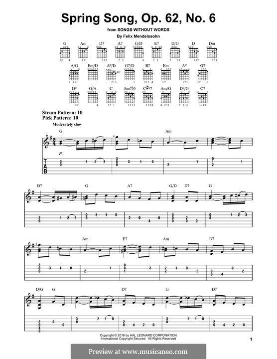 Songs without Words, Op.62: No.6 Spring Song, for guitar by Felix Mendelssohn-Bartholdy