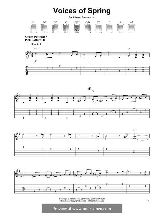 Voices of Spring, Op.410: Para Guitarra by Johann Strauss (Sohn)