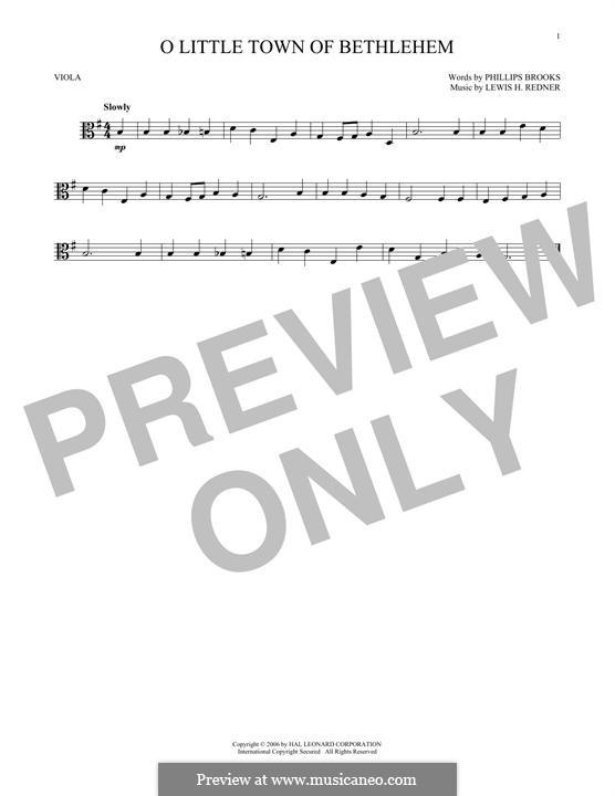 O Little Town of Bethlehem: para viola by Lewis Henry Redner