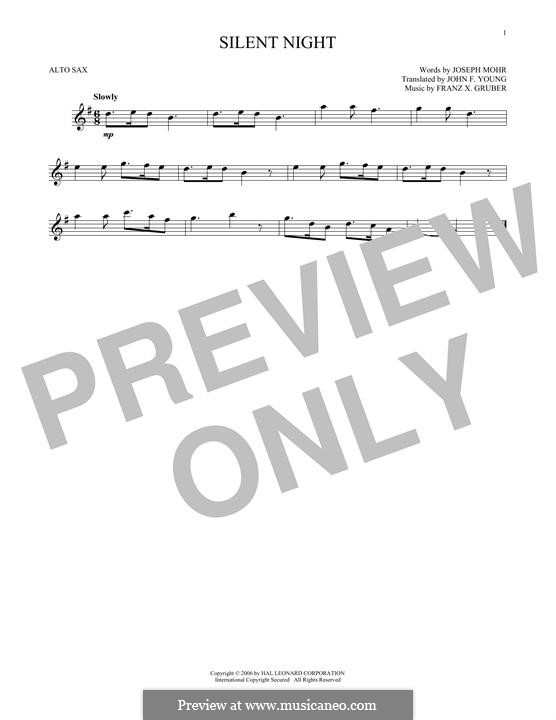 Silent Night (Printable): For alto saxophone by Franz Xaver Gruber