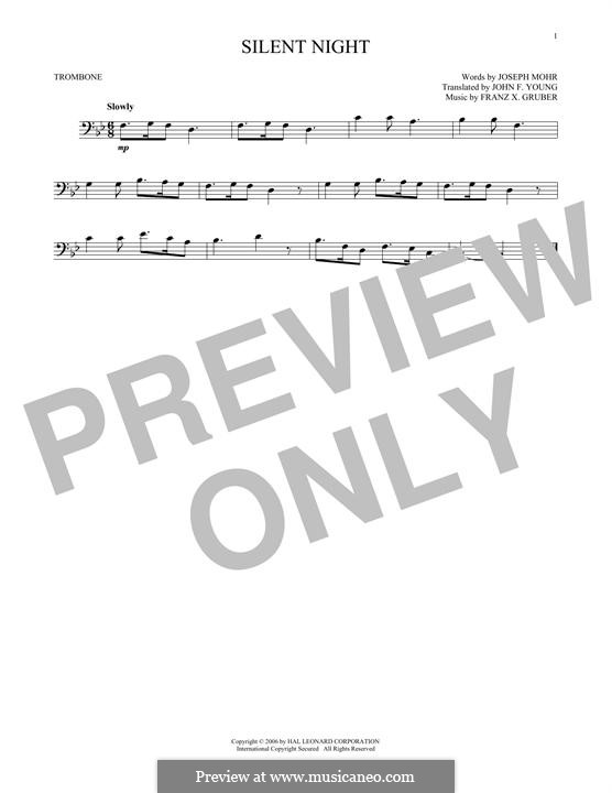 Silent Night (Printable): For trombone by Franz Xaver Gruber