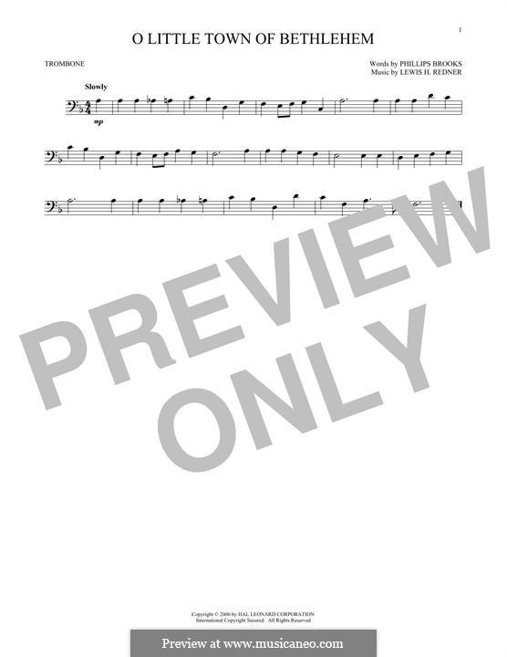 O Little Town of Bethlehem: para trombone by Lewis Henry Redner