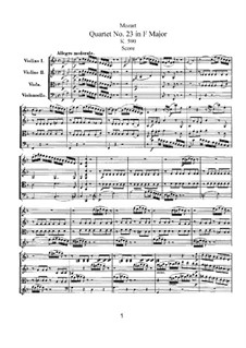 String Quartet No.23 in F Major, K.590: Partitura completa by Wolfgang Amadeus Mozart