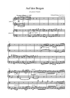 Scenes of Country Life, Op.19: No.1 Mountian Dance, for piano four hands by Edvard Grieg