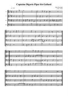 Captain Digorie Piper's Galliard: For quartet recorder by John Dowland