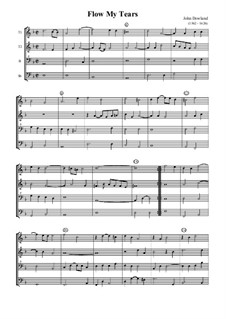 Flow My Tears (Lachrimae Antiquae): For quartet recorder by John Dowland