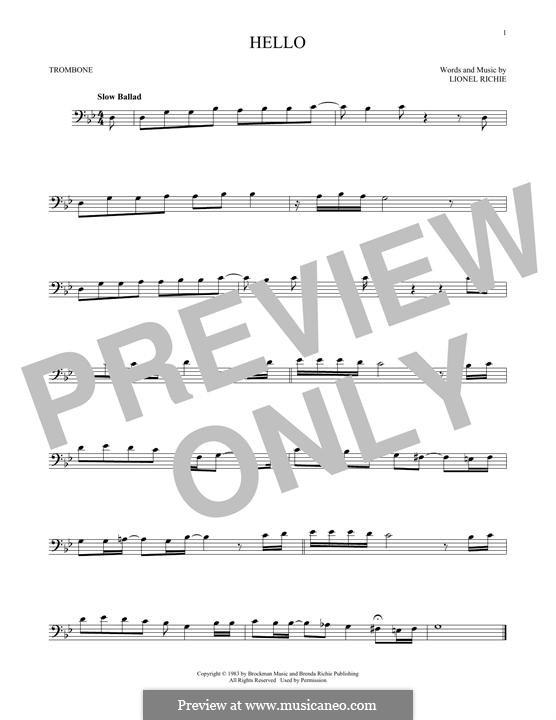Hello: para trombone by Lionel Richie