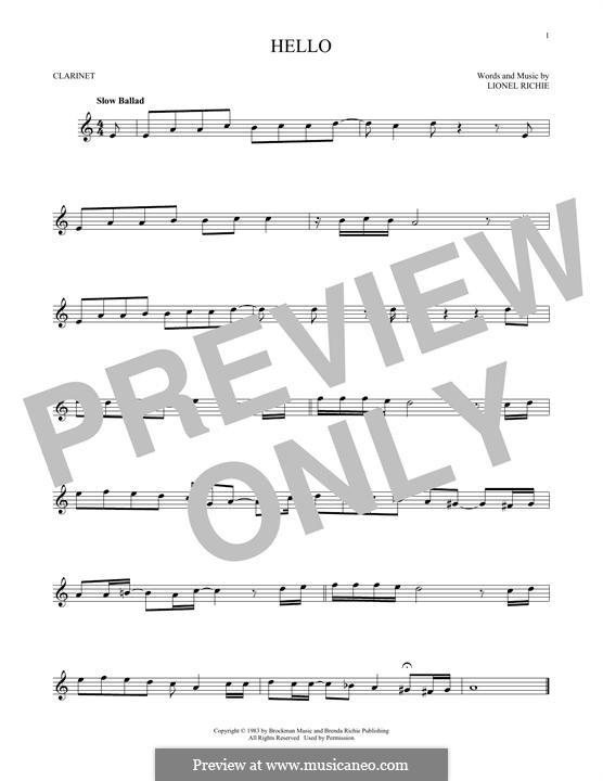 Hello: para clarinete by Lionel Richie