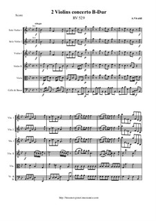 Concerto for Two Violins and Strings in B Flat Major, RV 529: Score and all parts by Antonio Vivaldi