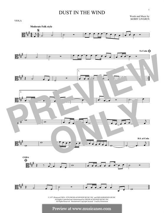Dust in the Wind (Kansas): para viola by Kerry Livgren