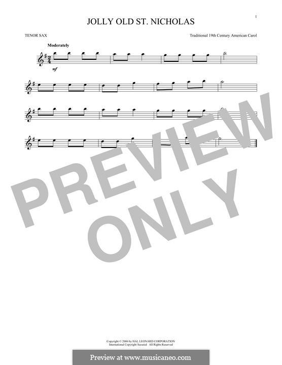 Jolly Old St. Nicholas: para saxofone tenor by folklore