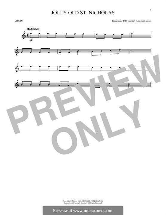 Jolly Old St. Nicholas: para violino by folklore