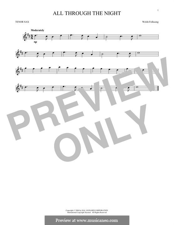 All Through the Night: para saxofone tenor by folklore