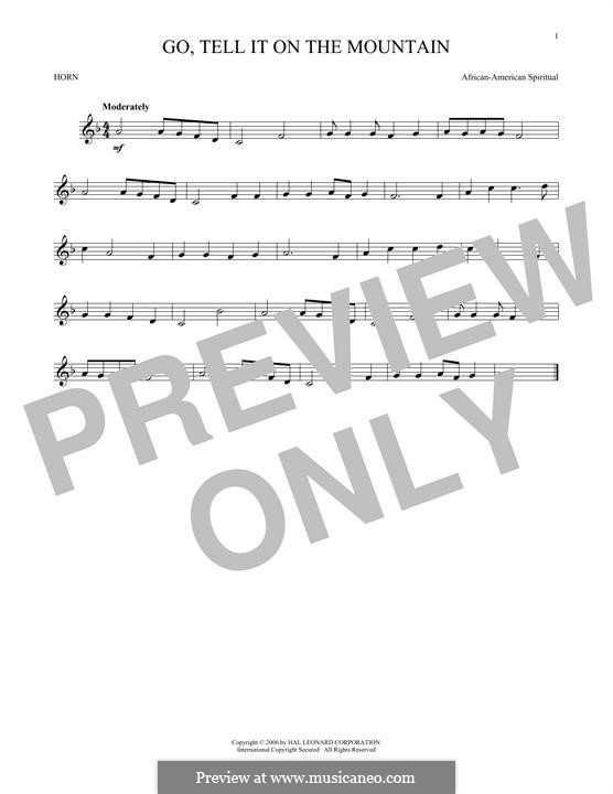 Go, Tell it on the Mountain (Printable Scores): For horn by folklore