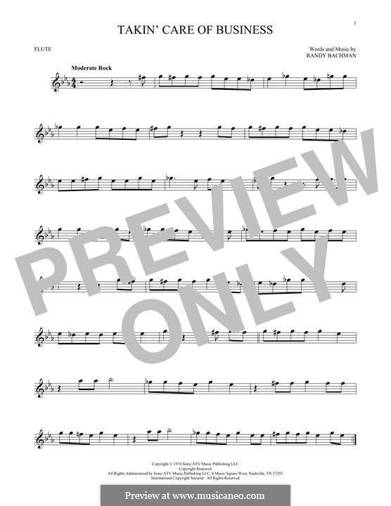 Takin' Care of Business (Bachman-Turner Overdrive): para flauta by Randy Bachman