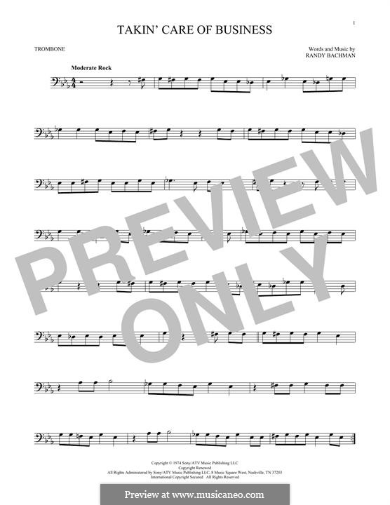 Takin' Care of Business (Bachman-Turner Overdrive): para trombone by Randy Bachman