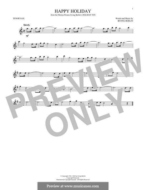 Happy Holiday: para saxofone tenor by Irving Berlin