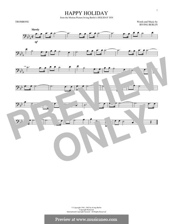 Happy Holiday: para trombone by Irving Berlin