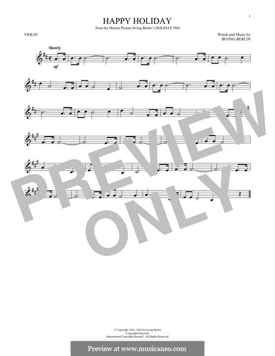 Happy Holiday: para violino by Irving Berlin