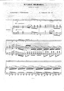 O cara memoria for Cello and Piano, Op.17: partitura by Adrien-François Servais