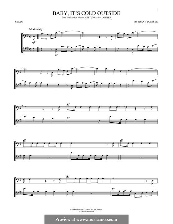 Baby, it's Cold Outside: para violoncelo by Frank Loesser