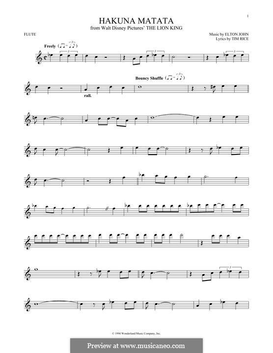 Hakuna Matata (from The Lion King): para flauta by Elton John