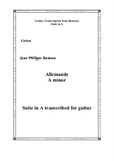 Suite in A Minor: Allemande, for guitar by Jean-Philippe Rameau