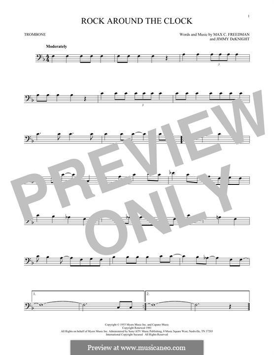 Rock Around the Clock (Bill Haley and His Comets): para trombone by Jimmy DeKnight, Max C. Freedman