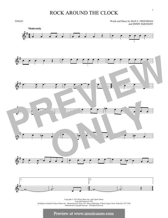 Rock Around the Clock (Bill Haley and His Comets): para violino by Jimmy DeKnight, Max C. Freedman