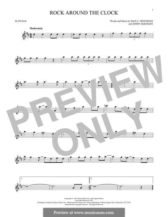 Rock Around the Clock (Bill Haley and His Comets): para Saxofone Alto by Jimmy DeKnight, Max C. Freedman