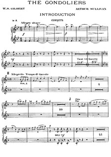 The Gondoliers: parte cornetas by Arthur Seymour Sullivan