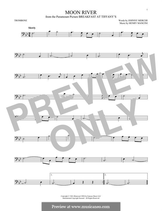 Moon River (from Breakfast at Tiffany's): para trombone by Henry Mancini