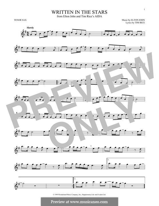 Written in the Stars: para saxofone tenor by Elton John