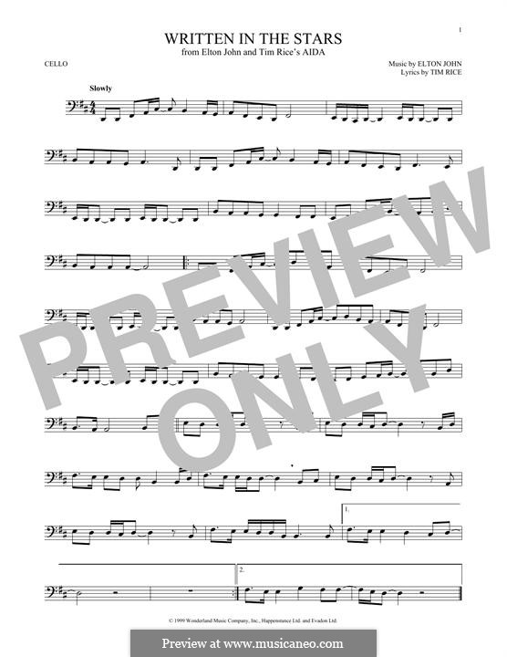 Written in the Stars: para violoncelo by Elton John