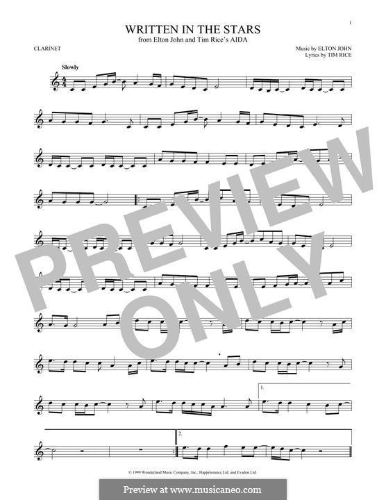 Written in the Stars: para clarinete by Elton John