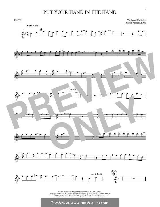 Put Your Hand in the Hand (Ocean): para flauta by Gene MacLellan
