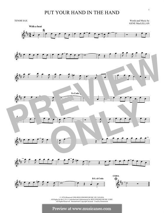 Put Your Hand in the Hand (Ocean): para saxofone tenor by Gene MacLellan