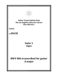 Suite No.1 in A Major, BWV 806: Gigue, for guitar by Johann Sebastian Bach