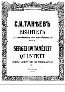 String Quintet No.1 in G Major, Op.14: violino parte I by Sergei Taneyev
