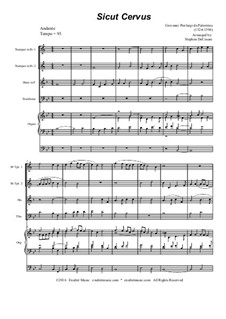 Sicut cervus: For brass quartet and organ by Giovanni da Palestrina